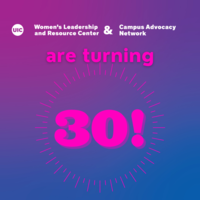 White and pink text on a purple background: WLRC & CAN are turning 30!