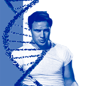 Marlon Brando next to a strand of DNA.