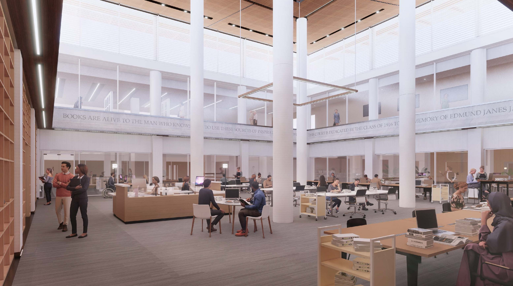Conceptual rendering of a reading room on the basement level of the Special Collections building (JLK Architects)
