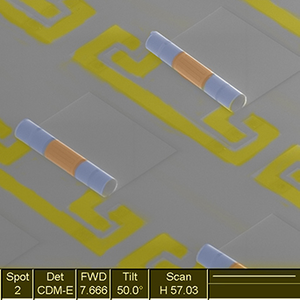 Electron microscope image of an array of new chip components.