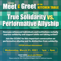 The color for the flyer is green. At the top, Meet & Greet in white, at the Kitchen Table in yellow. In the middle is True Solidarity vs. Performative Allyship in white.