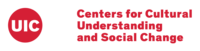 """CCUSC logo: """"Centers for Cultural Understanding and Social Change"""" in red text on a white background, with the UIC red circle to the left."""