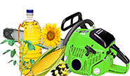 clip art - chain saw with a bottle of oil and corn and other plants near
