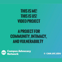 Black text on a teal background: THIS IS ME! THIS IS US! VIDEO PROJECT. A PROJECT FOR COMMUNITY, INTIMACY, AND VULNERABILITY.