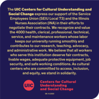 CCUSC's solidarity statement in yellow text on a dark blue background