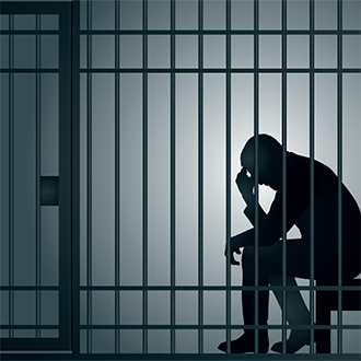 illustration of person in prison behind bars