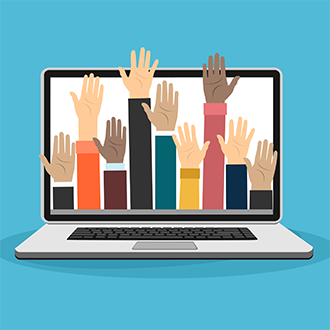 illustration of hands volunteering on a laptop