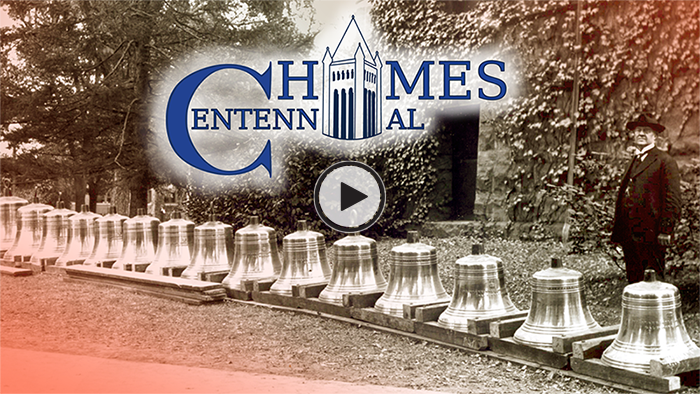 Chimes Centennial graphic and images of the chimes