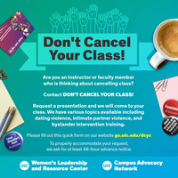 A cup of coffee, a notepad with pencils on top, a notecard with paper clips, a WLRC promo card, and WLRC buttons all form the border of a poster with text about Don't Cancel Your Class!