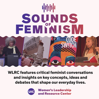 Sounds of Feminism text in gradient purple font