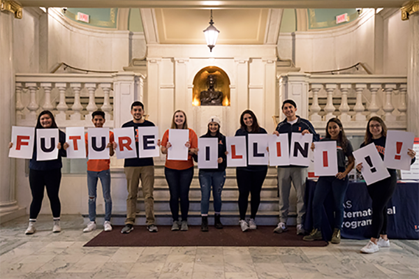 LAS students with signs that say Future Illini!