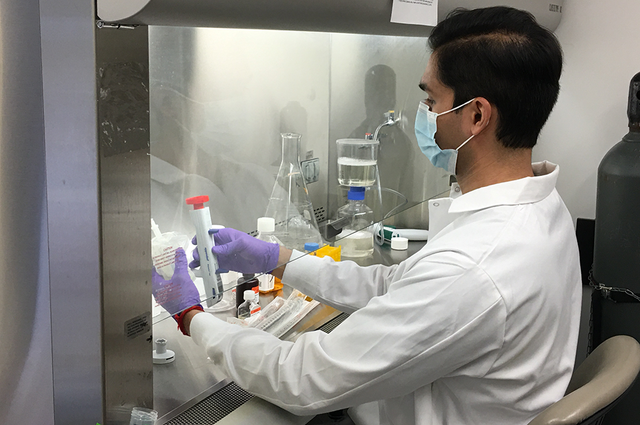 Akanksh Shetty produces Viral Transport Media in the Carl R. Woese Institute for Genomic Biology. The fluid is used to preserve patient test samples for COVID-19. (Photo by Ann Hyoung Sook.)