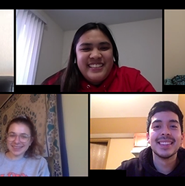 students on a video call