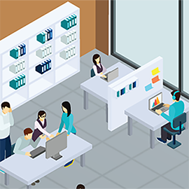illustration of students working in a library