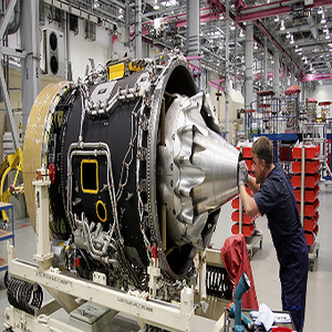 An engine in a Rolls Royce factory.