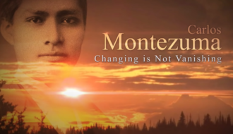 """Image of the face of Carlos Montezuma next to the documentary title, """"Carlos Montuzuma: Changing Is Not Vanishing"""""""