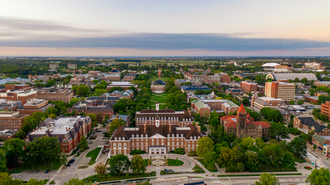 Aerial view of the University of Illinois campus