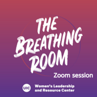"""The Breathing Room"" in a paintbrush font in white, with a faint circle drawn behind it in purple and red tones, on a purple and red ombre background"