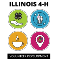 volunteer development with images of coffee cups and people