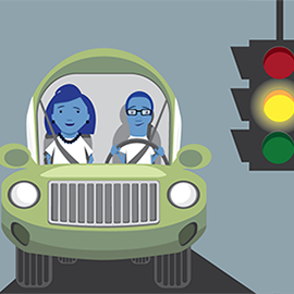 illustration of teen with Mom driving