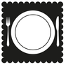White fork, knife, and plate on a black placemat