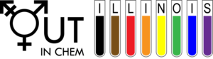 Out In Chem logo showing glass tubes with various colors