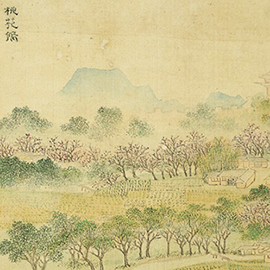 detail from Peach Blossom Cove painting