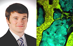 Photo of Andrew Smith on left and image of equalized quantum dots on right.
