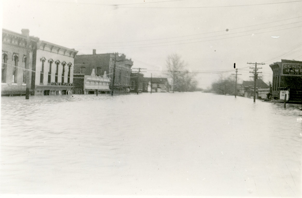 Ohio River floodwaters cover a street in Mound City, Illinois, in February 1937