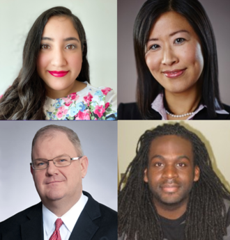 Head shots of four alumni, top left, Tripta Holtz, top right, Yantao Hughes, bottom left, Mark Pytosh and bottom right, Olaseni Sode