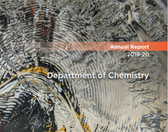 Image of the cover of the 2019-2020 Annual Report, featuring a research image of polymer resin