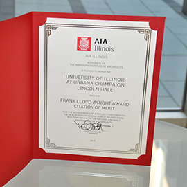 The 2015 Citation of Merit in the Frank Lloyd Wright category from American Institute of Architecture Illinois.