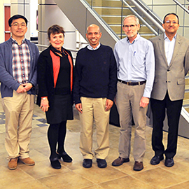 Pictured here, left to right: Hyunjoon Kong, Martha Gillette, Taher Saif, EBICS Director Roger Kamm of MIT, and Rashid Bashir.