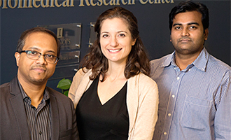 Photo of Dipanjan Pan, Leanne Labriola, and Santosh Misra, postdoctoral researcher.