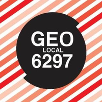 GEO Local 6297 black circle logo with gradient red stripes
