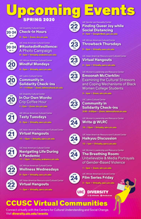 A calendar listing of events with a purple-red gradient background