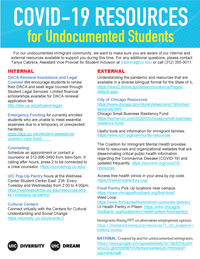Text-based flyer about COVID-19 resources for undocumented students