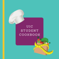 "A white chef's hat and a paper grocery bag of vegetables surround a purple square with white text that reads ""UIC Student Cookbook."""