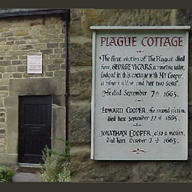 An historical marker in Eyam, England, marks where some of the villagers fell victim to plague.
