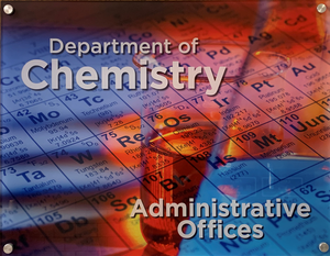 Photo of the Department of Chemistry sign on the 109 Noyes office door