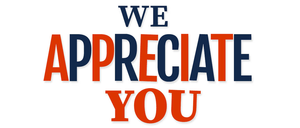 """An image that says, """"We appreciate you."""""""