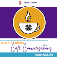 Cup of coffee on purple background ~ Volunteer Cafe Conversations May 20th
