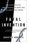 Black and white book cover with tri-colored DNA strands